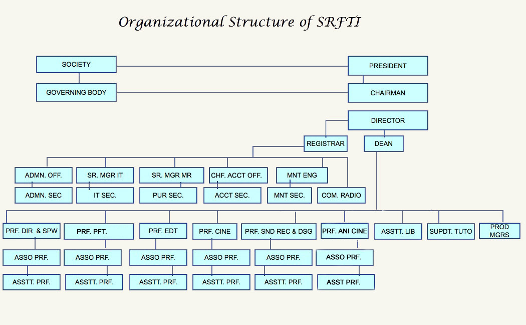 image showing organizational structure of srfti